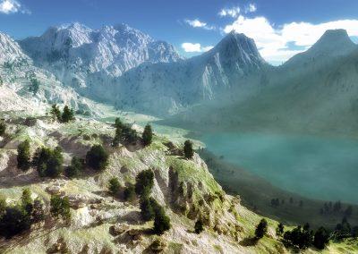 Landscape; Mountains; Mountainlake; Mist; Godrays