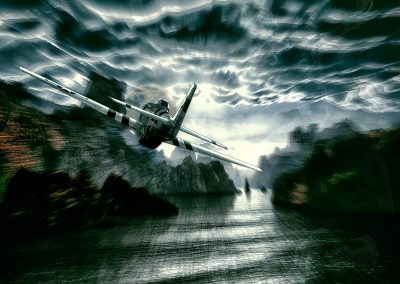 Seascape; Airplane; Radial Blur; Dynamic; Bad Weather; Clouds