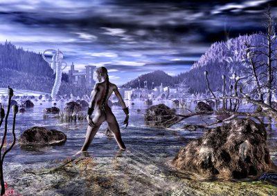 Space; Sci-Fi; DarkArt; Planet; Alien; Lake; Light; Morning; Sunset