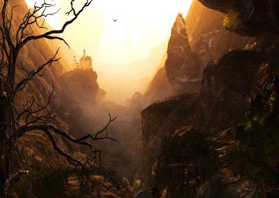 Landscape; Mountains; Cave; Castle; Mist; Dust