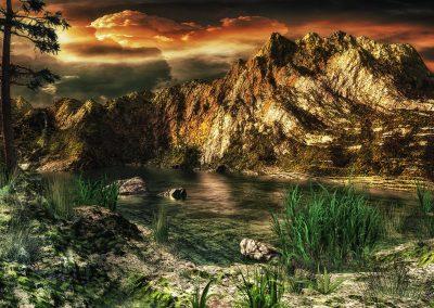 Landscape; Seascape; Mountains; Thunderclouds; Evening; Golden Hour