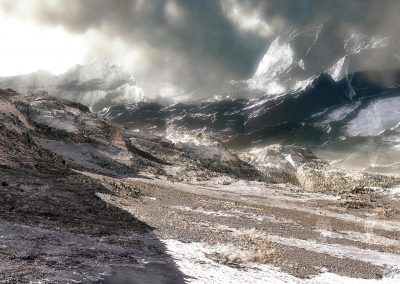 Mountains; Early Winter; Grit; Stones; Rocks; Clouds