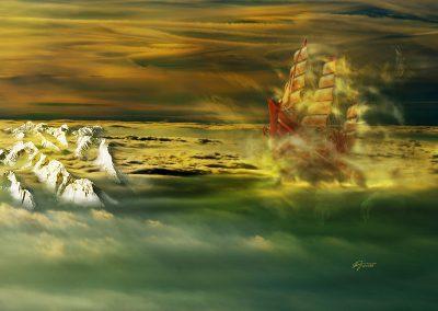 Composing; Sailingship; Airship; Clouds