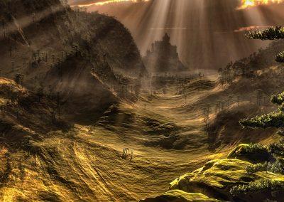 Landscape; Mountains; Meadow Hills; Castle; Godrays