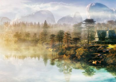 Landscape; Waterscape; Forest; Mountains; Country House; Early Morning; Fog; Mist