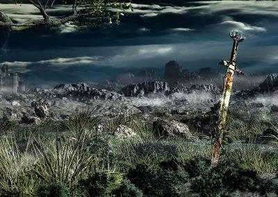 Landscape; Highlands; Rocks; Evening; Thunderstorm Mood; Sword; Castle; Godrays