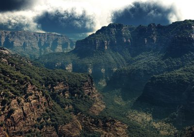 Landscape; Mountains; Canyon; Clouds; Thunderstorm Mood