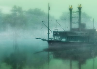 Waterscape; River; Paddle Steamer; Early Morning; Fog