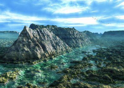 Landscape; Seascape; Water; Rocks; Mountains; Blue Sky; Noon