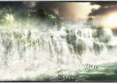 Landscape; Waterfalls; Flood; High Tide; Castle