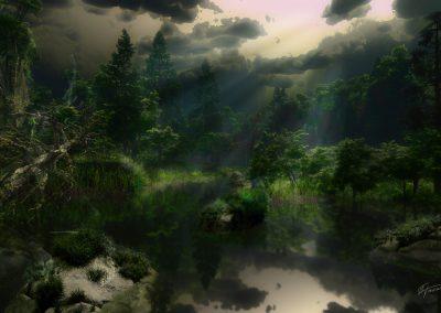 Landscape; Forest; Lake; Thunderstorm Mood; Clouds; Godrays; Haze; Mist