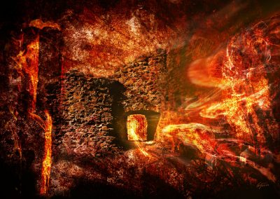 Abstrakt; Castlewall; Grunge; Ghosts; Stonetexture; Fire; Flames