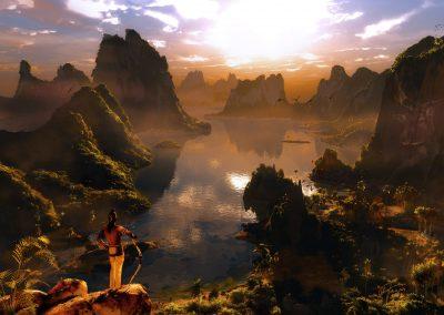 Landscape; Island; Sea; Lake; Evening; Atmosphere; Haze; Mist