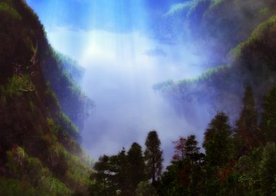 Landscape; Forest; Godrays; Blue Hour; Haze; Mist