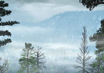 Landscape; Mountains; Forest; Winter; Snowfall