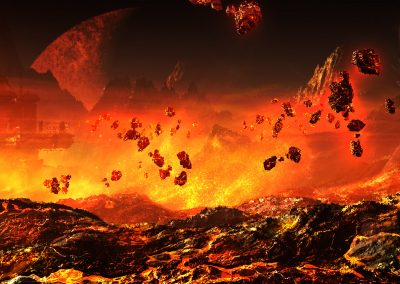 Space; Sci-Fi; Station; Fire; Lava; Sparks; Heat Shimmer