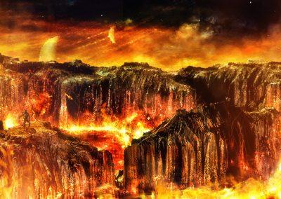 Space; Sci-Fi; Alien; Fire; Lava; Sparks; Heat Shimmer
