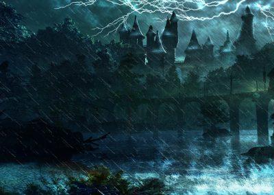 Fantasy; DarkArt; Night; Rain; Thunderstorm; River; Castle; Night