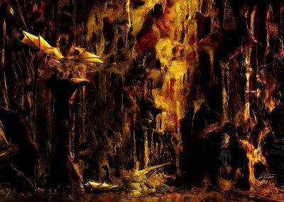 Fantasy; DarkArt; Dragon; Cave; Lightrays