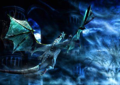 Fantasy; DarkArt; Dragon; Castle; Night