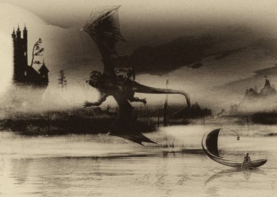 Fantasy; DarkArt; Sepia; Dragons; Water; Castle; Fishing Boat
