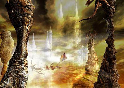 Fantasy; Dragons; Water; Castle; Rocks; Fog; Mist; Haze