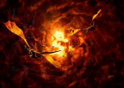 Fantasy; DarkArt; Dragons; Fire; Sky; Vortex