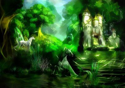 Fantasy; Landscape; Unicorns; Sea; Caste