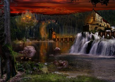Fantasy; Landscape; Enening; Atmosphere; Sea; Waterfall; Castes; War; Fire;