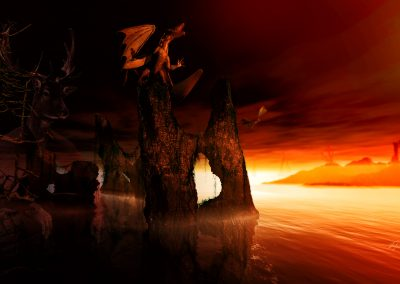 Fantasy; DarkArt; Dragon; Rock; Late Evening; Sundown; Water; Sea