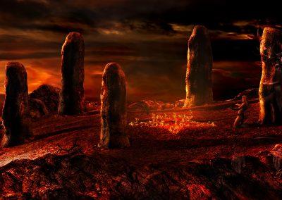 Fantasy; DarkArt; Late Evening; Pentagram; Incantation; Fire