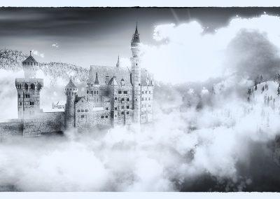 Fantasy; Clouds; Neuschwanstein Castle; Fog; Mist; Sea; Water; Egret