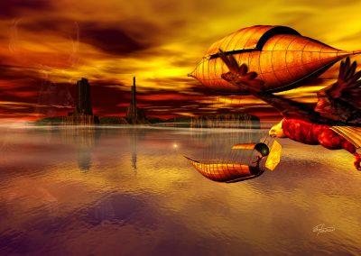 Fantasy; Evening; Atmosphere; Eagle; Airship; Sea; Island