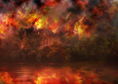 Original Photo; France; River; Saone; Mansion; Villa; Forest; Firestorm
