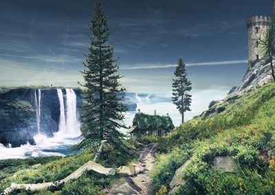 Landscape; Composing; Fisherman's Cabin; Sea; Ocean; Waterfalls; Tower