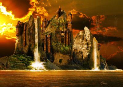 Composing; Fantasy; Castle; Sea; Evening; Waterfalls