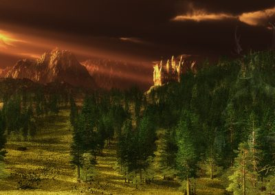 Landscape; Castle; Evening; Sundown; Godrays