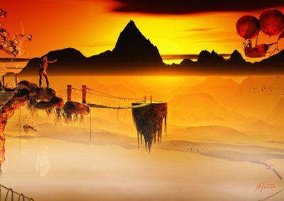 Fantasy; Evening; Rope Bridges; Flying Rocks; Atmosphere; Airship; Castle; Birds; Clouds; Mist; Dust; Haze