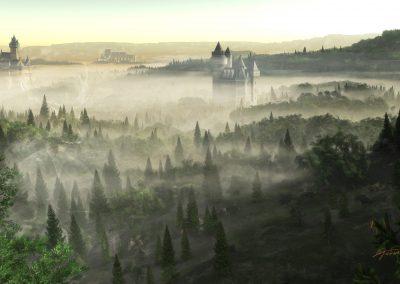 Landscape; Castles; Early Morning; Fog; Mist; Dust