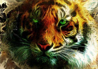 PS CS3 Image Editing; Tiger; Green eyes; Grunge