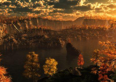 Landscape; Mountains; Forest; Autumn; Sea; Lake; Water; Evening; Sundown