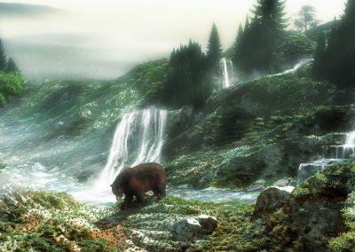 Landscape; Mountains; Grizzly; Waterfalls; Mountaincreek