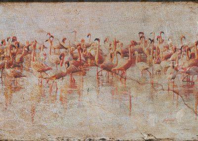 Abstrakt; Flamingos; Grunge; Canvas; Stone; Marble; Cracks