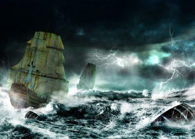 Seascape; Sailing Ships; Thunderstorm; Lightning; Bad Weather