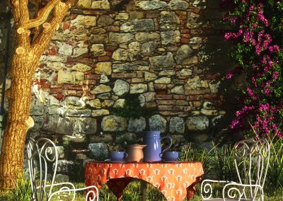 Landscape; Garden; Stonewall; Teatime; Bougainvillea