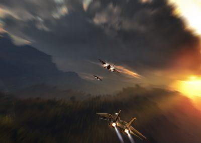 Landscape; Flight; Tomcats; Dynamic; Evening; Sundown