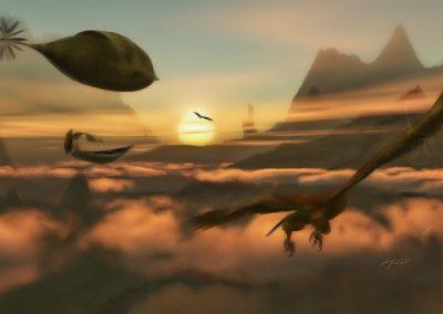 Fantasy; Evening; Atmosphere; Airship; Castle; Eagle; Clouds; Mist; Dust; Haze
