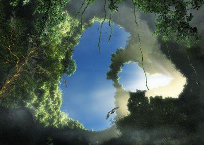 Landscape; Jungle; Cave; Birds; Mist; Dust; Godrays; Blue Sky