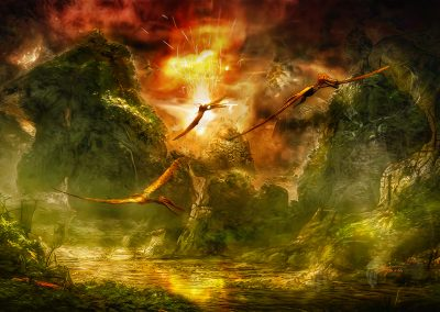 andscape; DarkArt; Primeval Times; Jurassic; Pteranodon; Zhenyuanopterus; River; Volcano; Explosion; Fire; Sparks