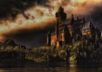 Landscape; DarkArt; River; Castle; Evening; Thunderstorm Mood